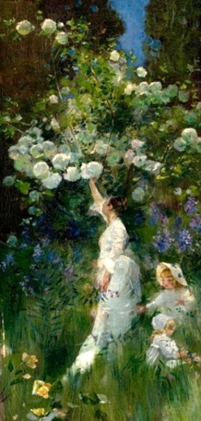 Woman And Two Children In A Garden Picking Flowers
