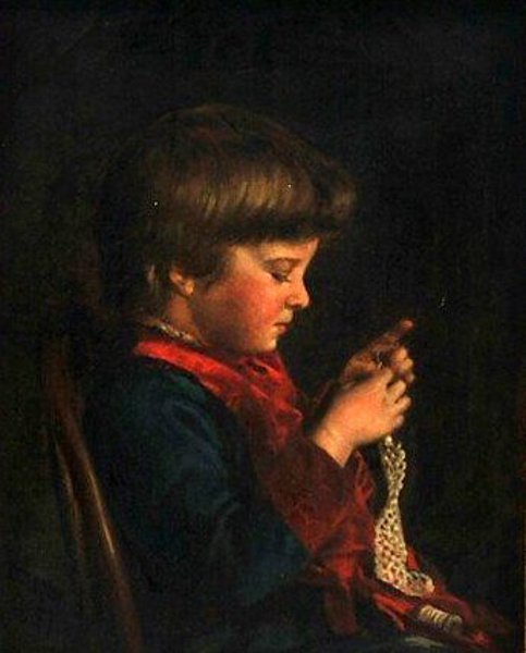 Young Girl Crocheting