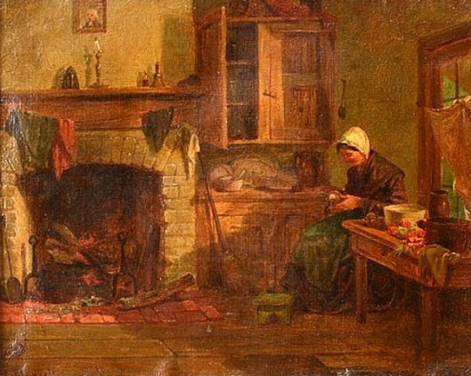 Interior - Woman By Hearth