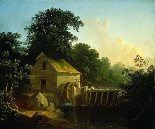 Landscape With Waterwheel And Boy Fishing