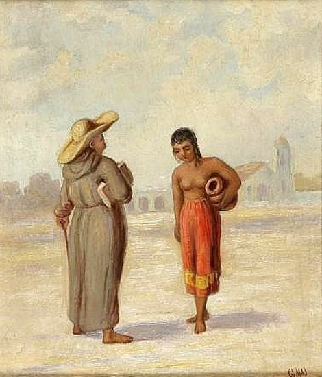 Priest And California Indian Girl
