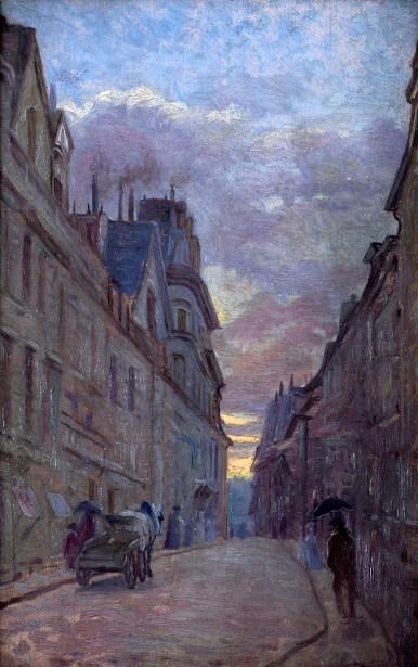 Rainy Street In Paris At Dusk