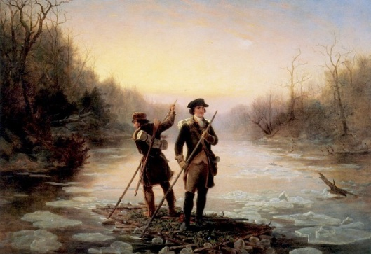 Washington And Gist Crossing The Allegheny River