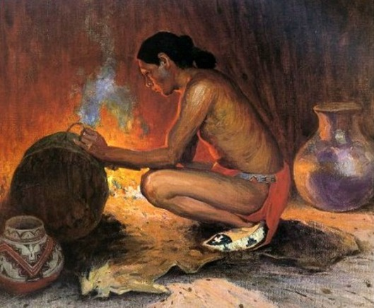 Indian By Firelight