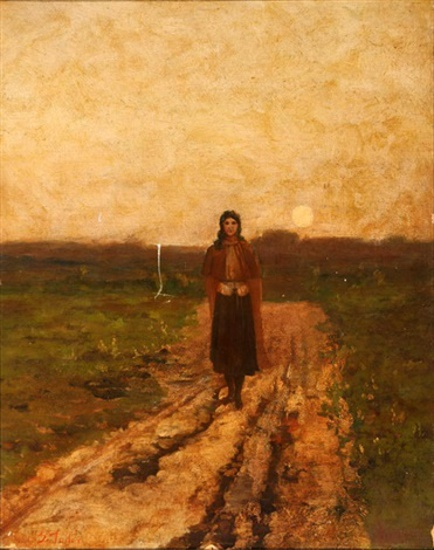 Woman Walking Down A Country Lane At Sunset