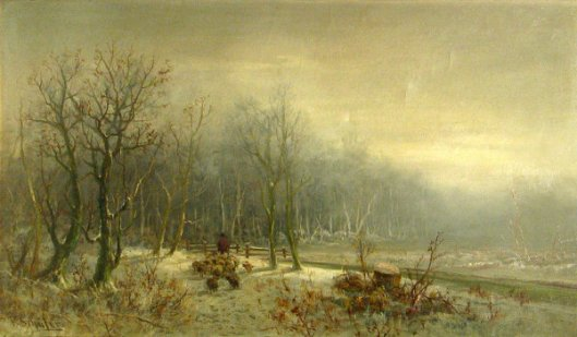 A Shepherd And His Flock In Winter