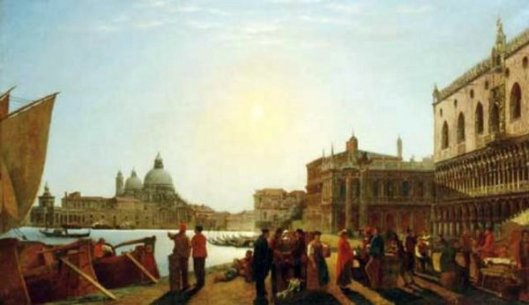 A Venetian View With Figures On A Quay
