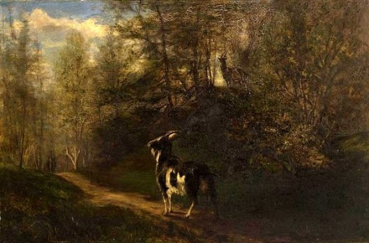 Goats In A Wooded Landscape
