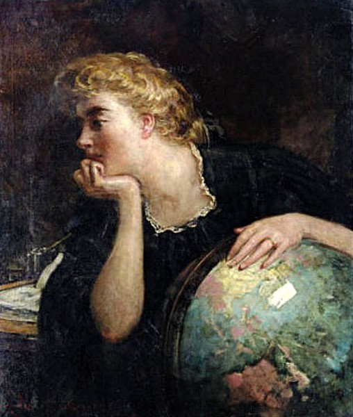Lady Resting Her Hand On A Globe