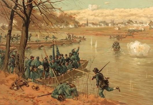 Laying The Pontoon Bridge At Fredericksburg