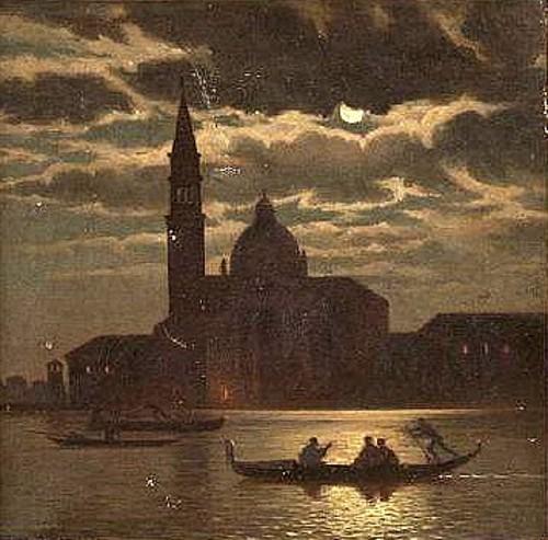 Moonlit Venetian Canal Scene With Santa Maria della Salute