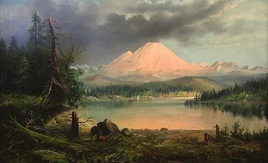 Mount Rainer At Sunset