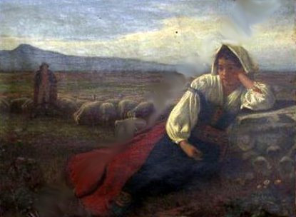 Shepherd And Sheep In A Panoramic Landscape