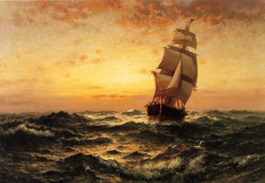 Ship At Sea, Sunset