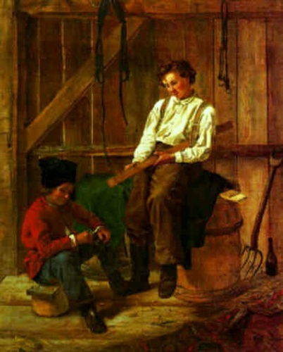 Two Young Boys Whittling
