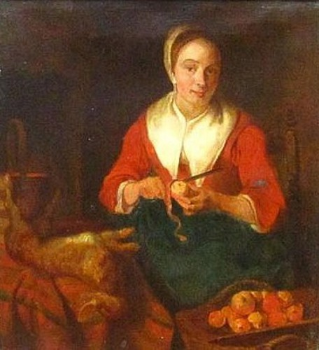 Woman Peeling Apples (after Gabriel Metsu)