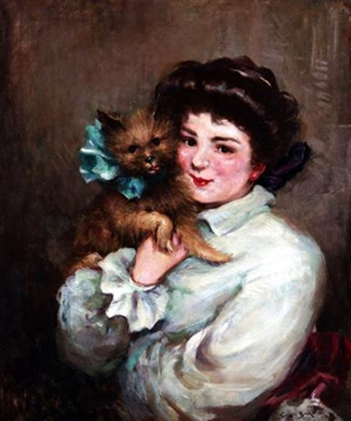 Young Lady With Prized Terrier
