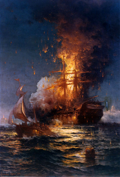 Burning Of The Frigate Philadelphia In The Harbor Of Tripoli, February 16, 1804