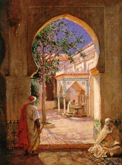 Court Of The Fountain Of Ablutions In The Mosque El Kerir, Algiers