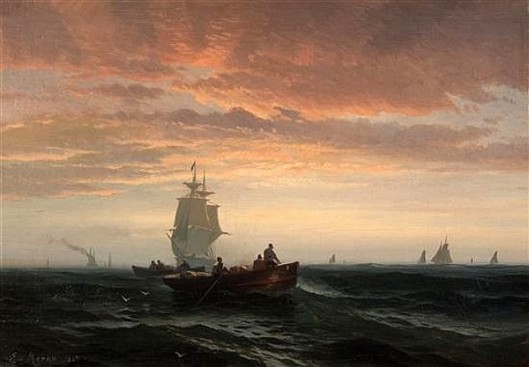 Fisherboats And Full Masted Ships At Sunset