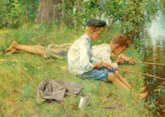 Fishing Along The River Bank