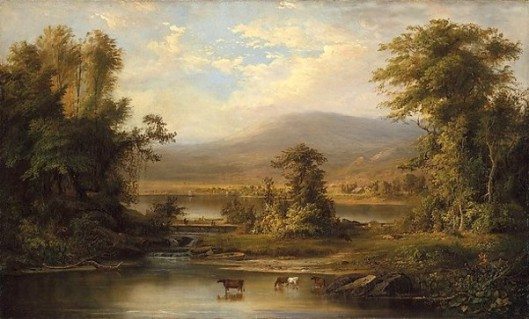 Landscape With Cows Watering In A Stream