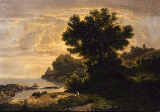Landscape With Family By Lake