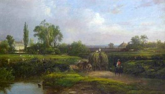 Rural Landscape With Horseman And Haywagon