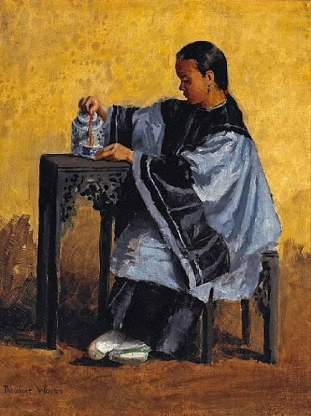 A Chinese Beauty Pouring Tea