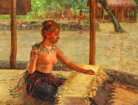 A Mat Weaver In Samoa