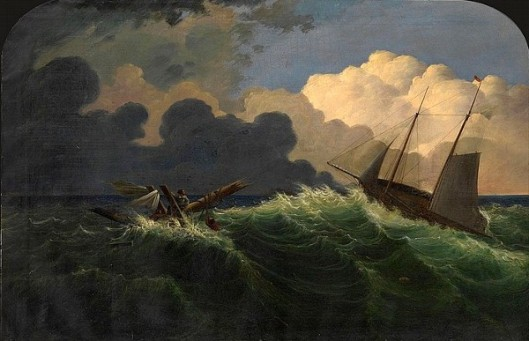 A Two-Master Passing By Drowning Figures In Choppy Seas