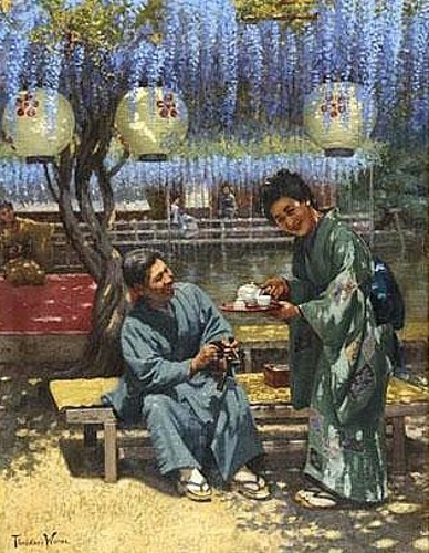 Geisha Serving Tea To A Gentleman