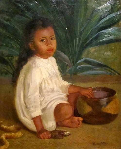 Hawaiian Child With Poi Bowl