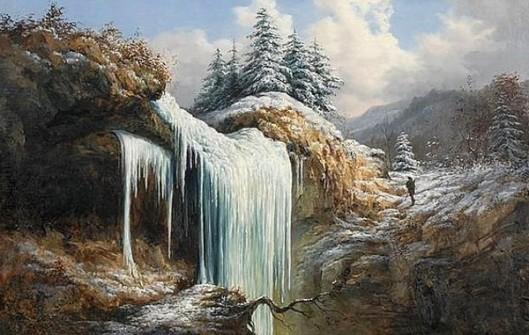 A Hunter Near A Frozen Waterfall