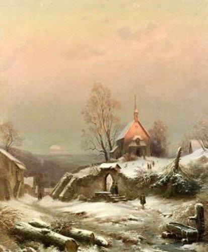 As The Sun Sets - A Snowy Churchyard