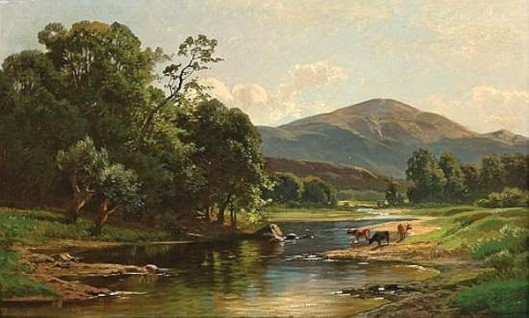 Cattle Watering In Summer - River Landscape