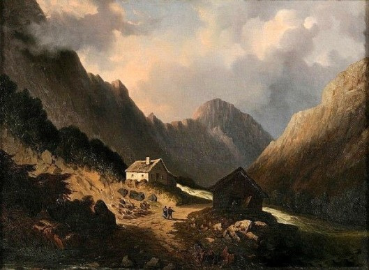 Cottage And Barn By A Mountain Stream