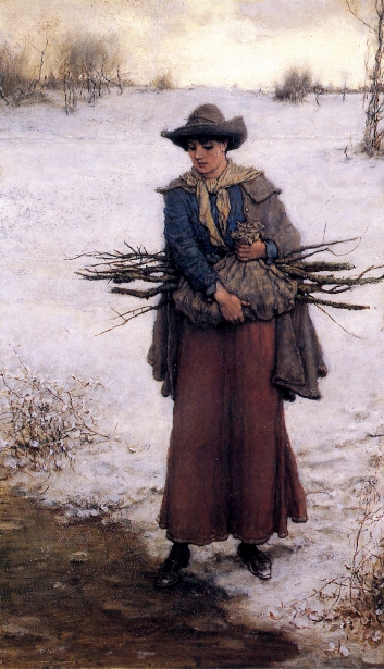 Gathering Firewood In Winter