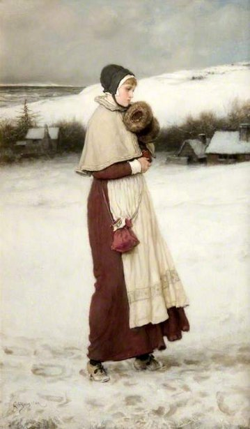 Girl With A Muff - Winter Scene