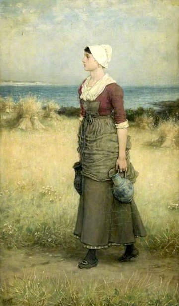 Girl With Pitchers - Summer Scene