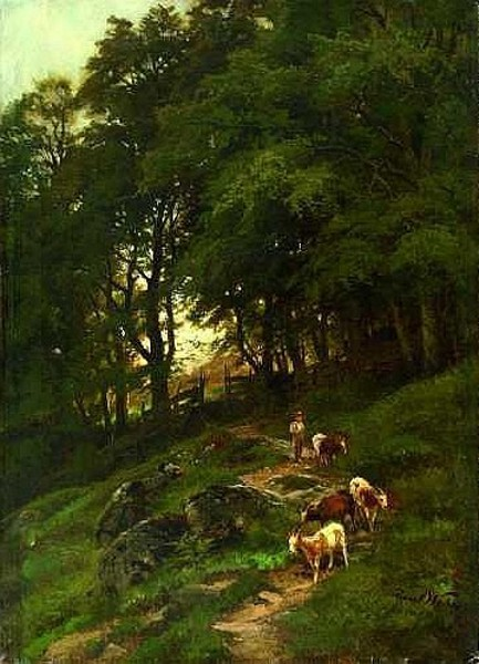 Goat Herd With A Shepherd Boy In A Wooded Landscape