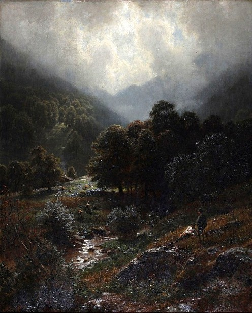 Hill Landscape With Resting Guys By A Brook