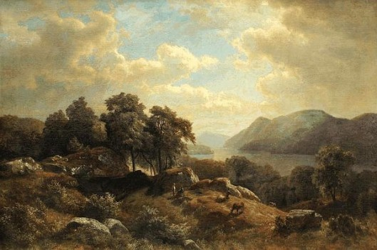 Hudson River Landscape With Figures And Cows