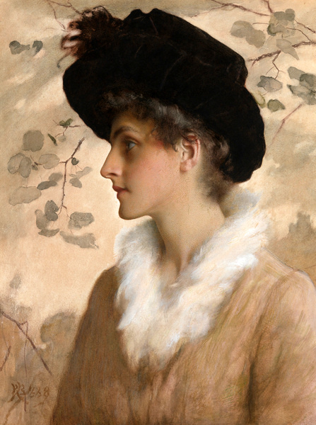Lady Wearing A Black Hat And A Fur Stole