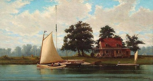 Lake House With Figures In Sailboat