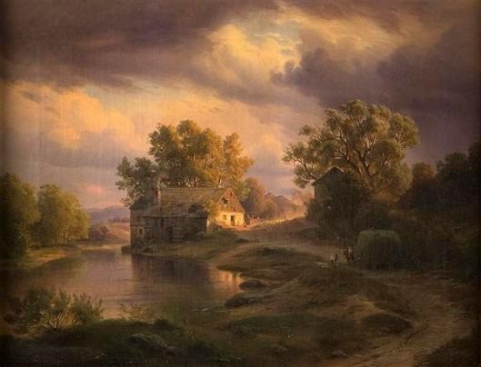 Landscape Over Farm At Sunset