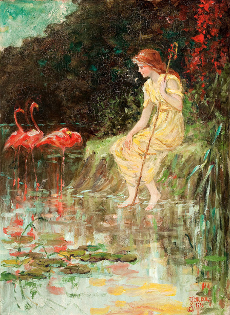 Maiden With Flamingos