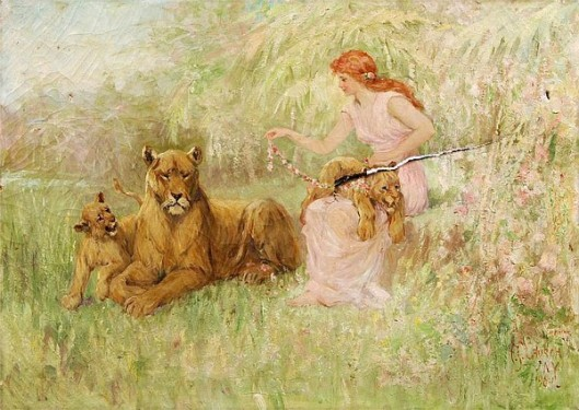 Maiden With Lioness And Cubs