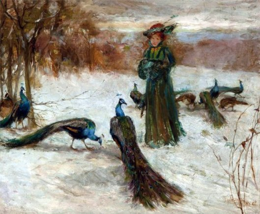 Peacocks In The Snow