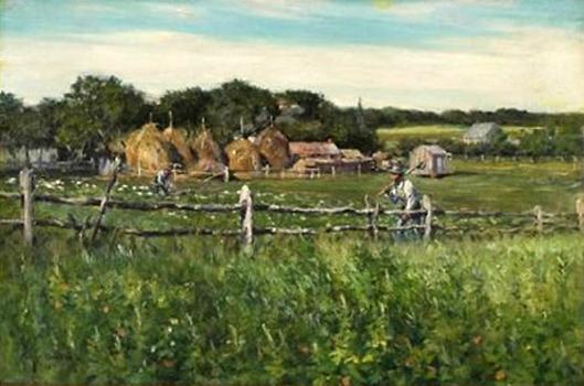 Ploughmen In A Fenced Field